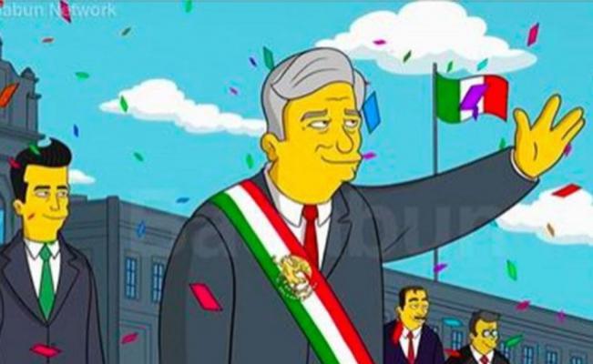 AMLO presidente en un dibujo al estilo de Los Simpsons