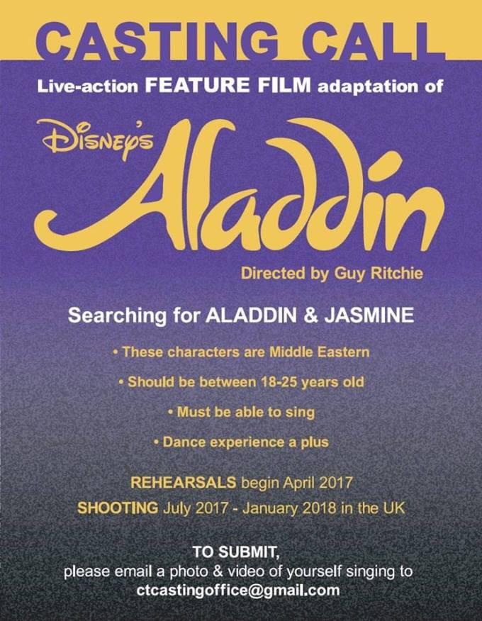 Se buscan actores para la versión Live Action de Aladdin