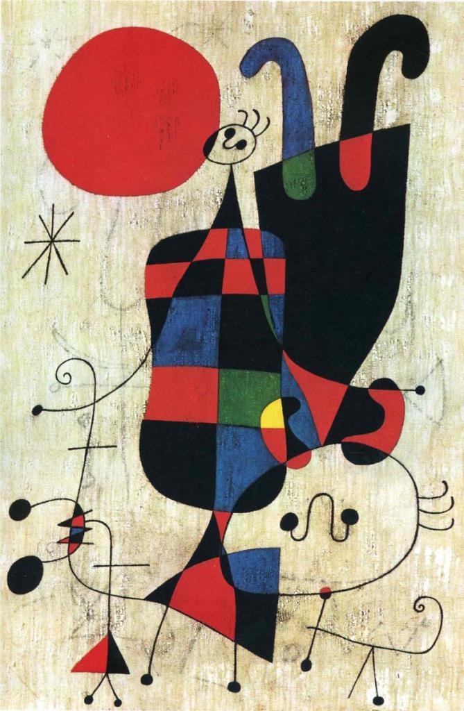 Personajes y perro delante del sol (1949) de Joan Miró