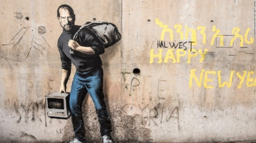 Steve Jobs representando a los refugiados, según Banksy