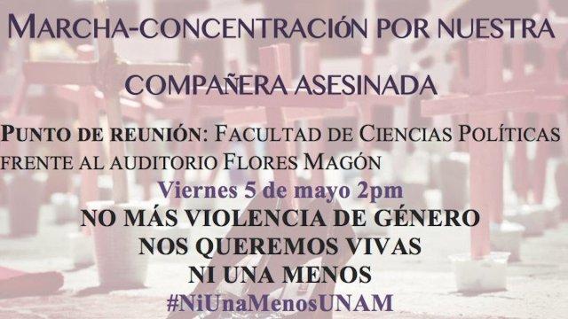 Convocan marcha en la UNAM para protestar por mujer asesinada