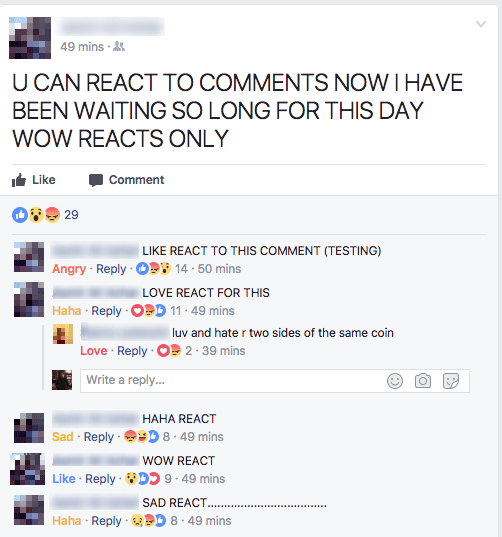 Facebook agregara reacciones a los comentarios de las publicaciones.