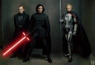 Domhnall Gleeson, Adam Drive y Gwendoline Christie como el General Hux, Kylo Ren y la Capitán Phasma en Star Wars VIII