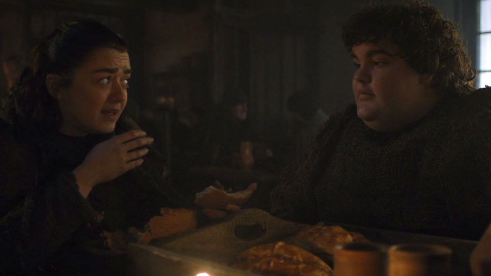 Arya y Hot Pie en Game of Thrones