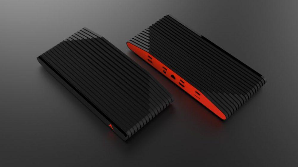 La consola Ataribox con acabados de vidrio, negro y rojo