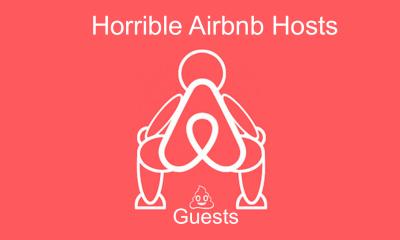 Anfitrion airbnb tira huesped escaleras