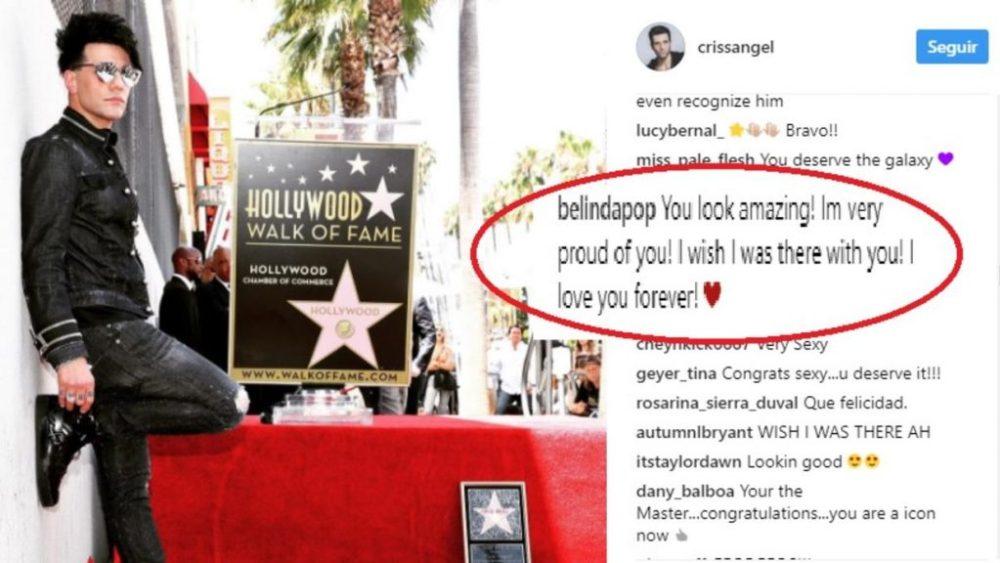 Belinda manda mensaje a Criss Angel por su estrella en Hollywood