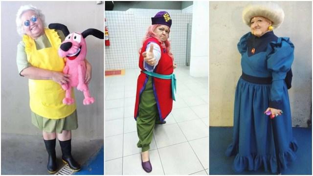 Tia Sol haciendo cosplay de Muriel, Genkai y Yubaba