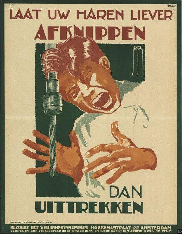 Cartel holandés de seguridad laboral, parece póster de películas de terror
