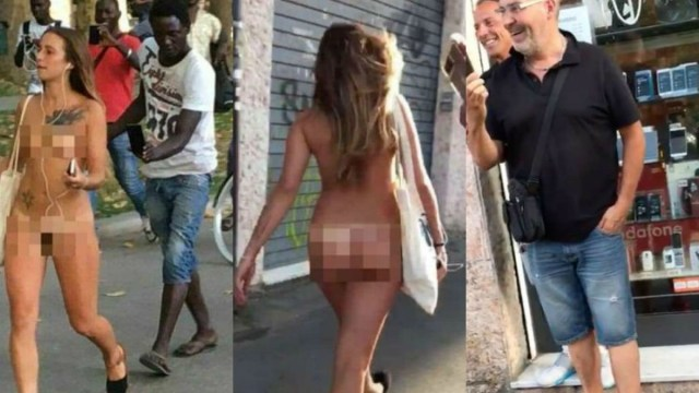 Italiana paseó desnuda por Bolonia aparentemente haciendo un experimento social