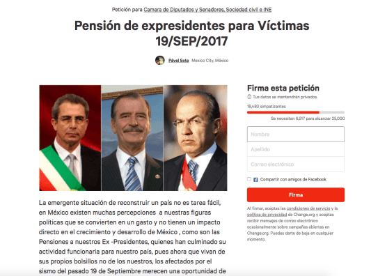 quiten pension a ex presidentes para el sismo