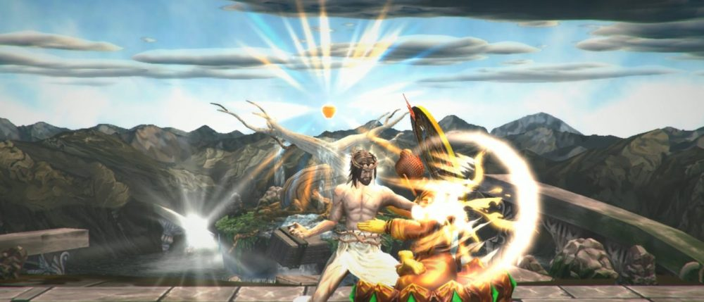 Jesus peleando contra Buda en Fight of Gods