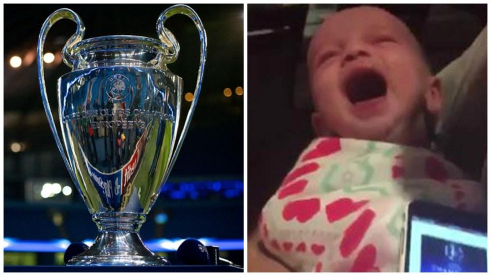 Niño calma su llanto con el himno de la champions