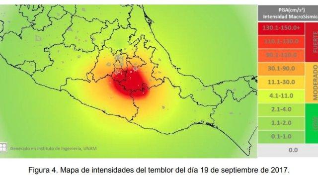 Intensidad del sismo del 19 de septiembre en México