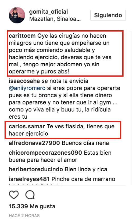 Gomita, Flácida, Fotos, Instagram, Lencería, Comentarios