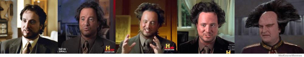 Evolución del hombre del meme de aliens