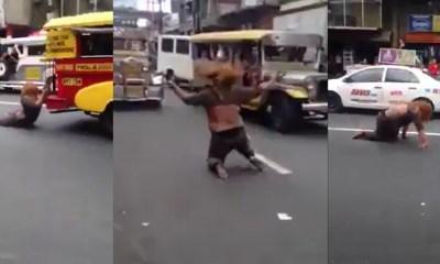 """Mujer bailando """"como loca"""" en medio de la calle"""