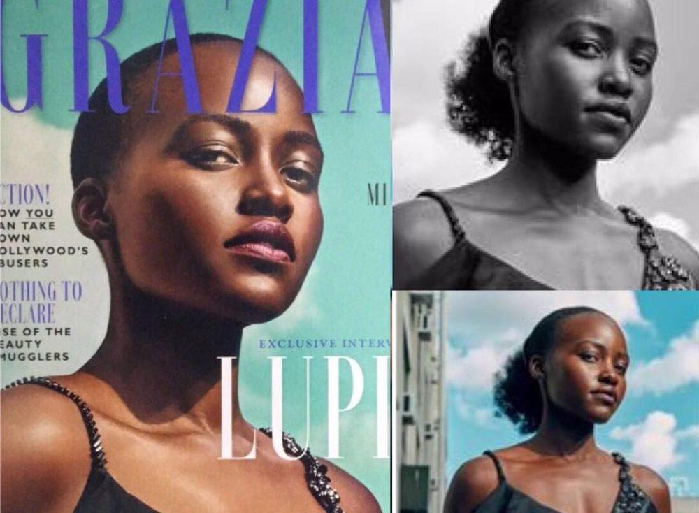 La revista Grazia photoshopeó el cabello de Lupita Nyong'o