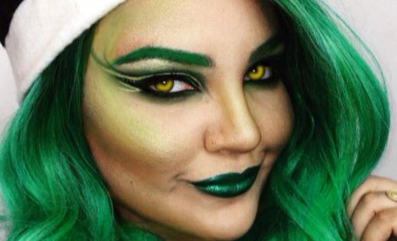 El makeup a estilo Grinch se esta robando la Navidad