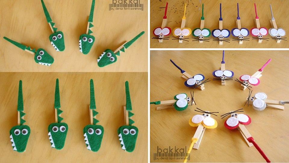 Cocodrilos y ratones hechos con pinzas de madera