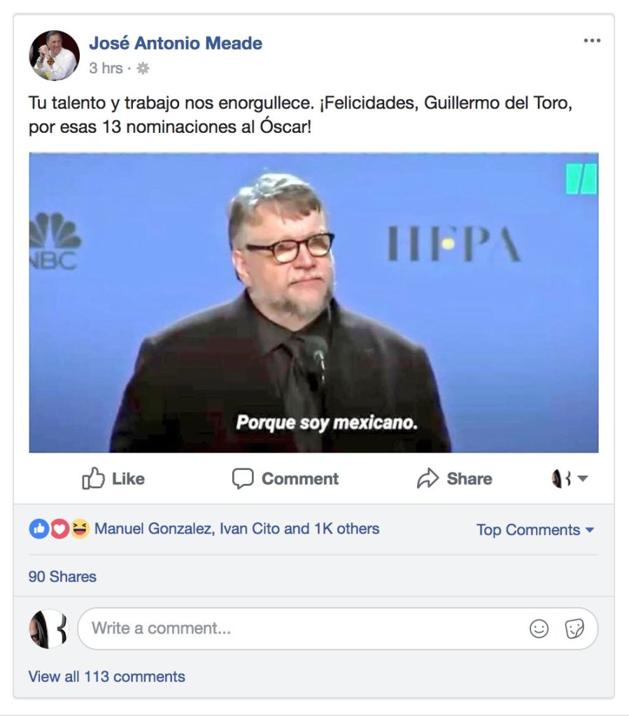 """Meade usando mal el meme de Guillermo del Toro """"Soy Mexicano"""""""