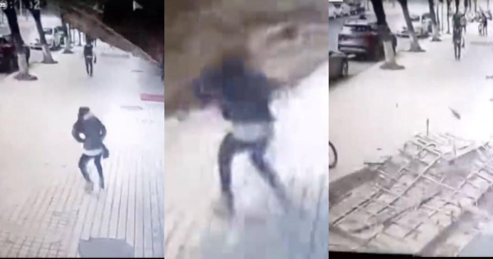Mujer china fue aplastada por un anuncio