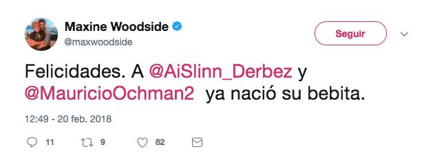 tuit-maxine-woodside-anuncio-nacimiento-bebe-aislinn-derbez-febrero-2018