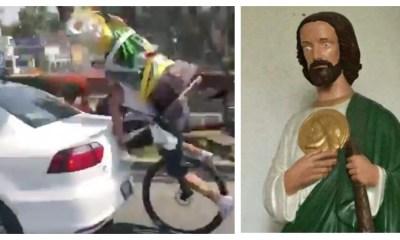 Mover a tu San Judas gigante en bicicleta, ¿qué podría salir mal?