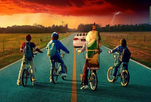 Stranger Things y San Judas Tadeo en bicicleta