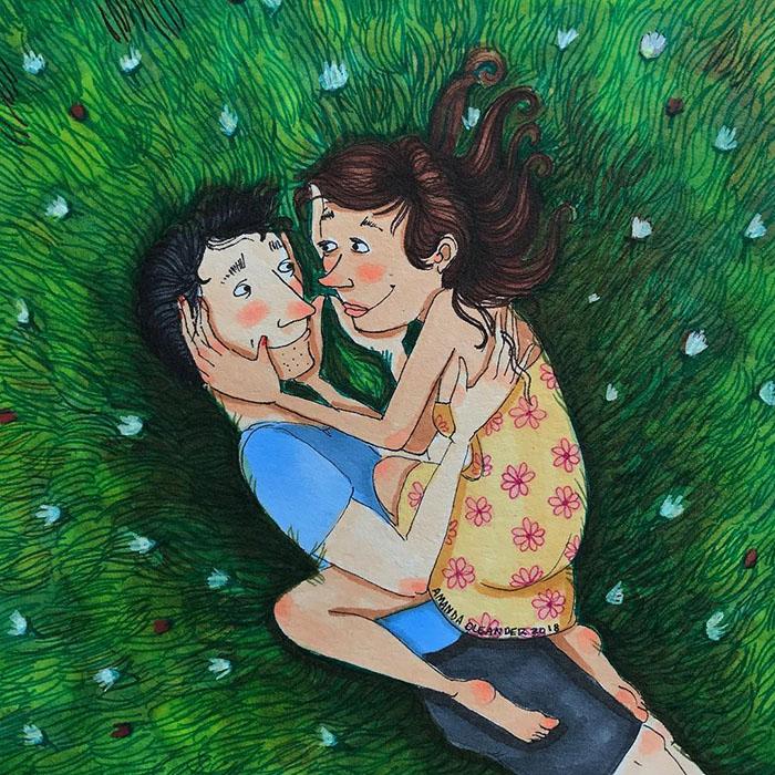 Ilustraciones-dibujos-relaciones-largas-parejas-reconoceran-tiernos-abrazarse-pasto