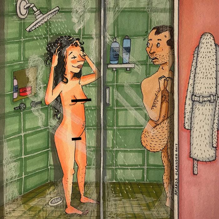 Ilustraciones-dibujos-relaciones-largas-parejas-reconoceran-tiernos-baño-agua-caliente