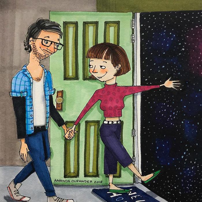 Ilustraciones-dibujos-relaciones-largas-parejas-reconoceran-tiernos-caminar-hacia-estrellas