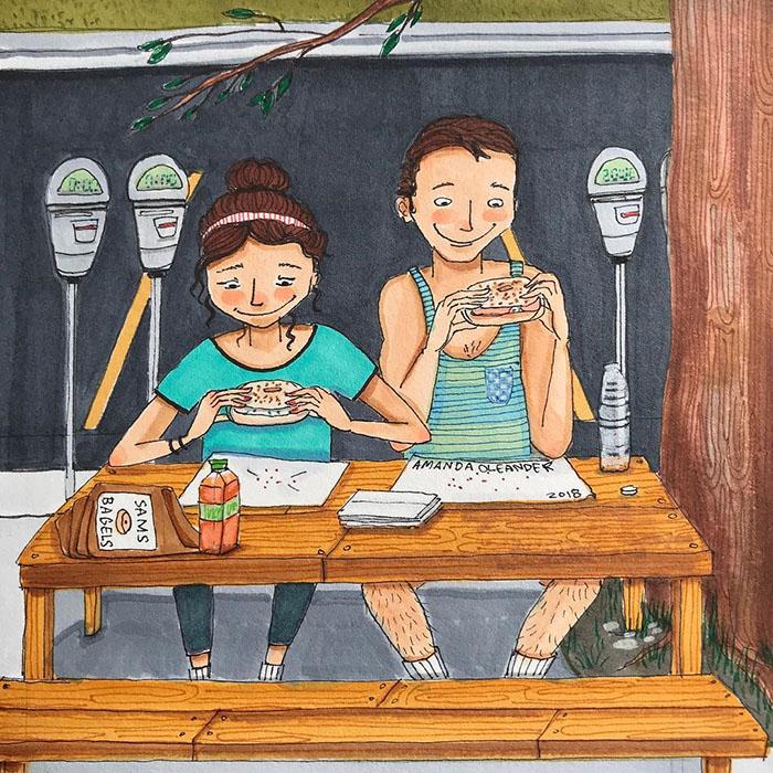 Ilustraciones-dibujos-relaciones-largas-parejas-reconoceran-tiernos-comer-despues-ejercicio