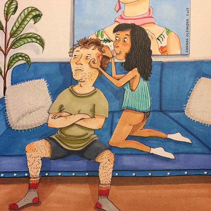 Ilustraciones-dibujos-relaciones-largas-parejas-reconoceran-tiernos-exprimir-grano