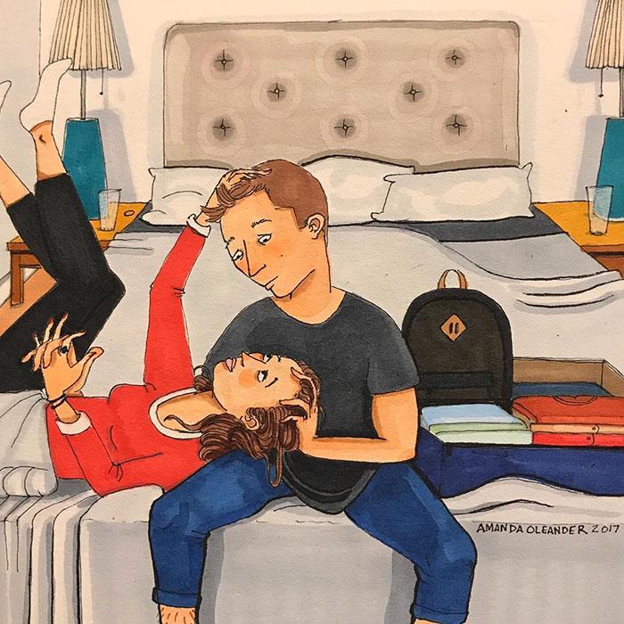 Ilustraciones-dibujos-relaciones-largas-parejas-reconoceran-tiernos-platicar-cama