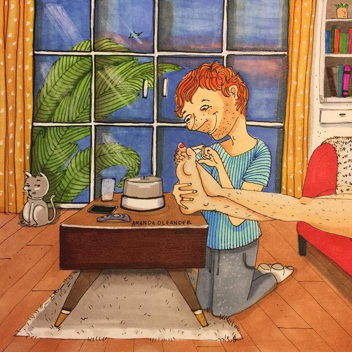 Ilustraciones-dibujos-relaciones-largas-parejas-reconoceran-tiernos-tocar-pies-piernas-pelo