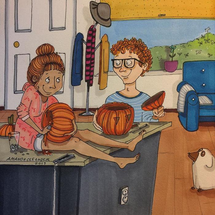 Ilustraciones-dibujos-relaciones-largas-parejas-reconoceran-tiernos-vaciar-calabazas