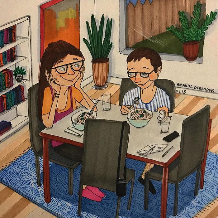 Ilustraciones-dibujos-relaciones-largas-parejas-reconoceran-tiernos-verse-mientras-comas