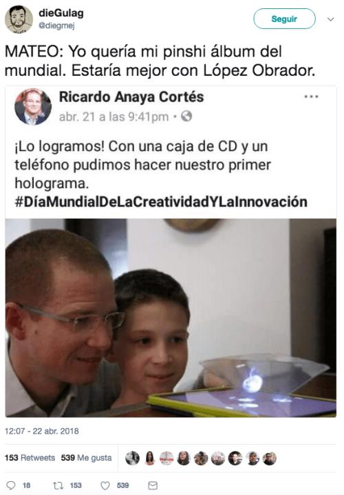 Ricardo anaya holograma con su hijo