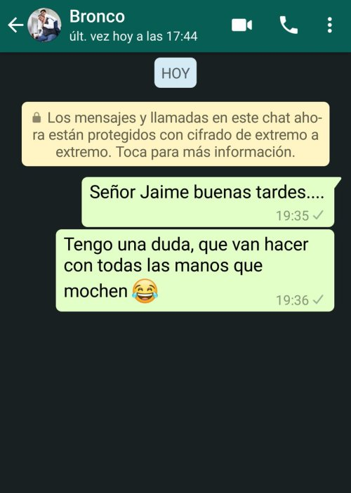 Bronco dejó su WhatsApp