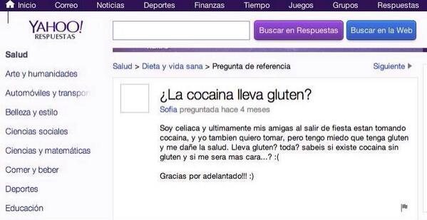 La cocaina lleva gluten