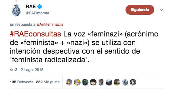 La hipócrita RAE y el término 'feminazi'