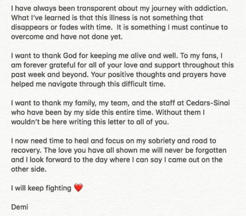 Demi Lovato aclara su situación con las drogas