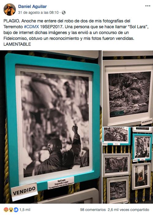 Ganó concurso de fotografía del 19S con fotografías robadas
