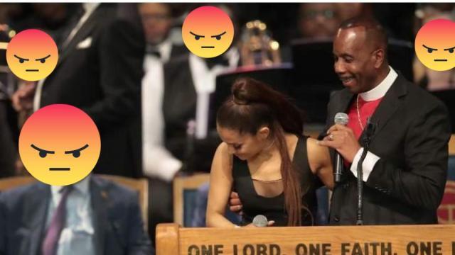 Obispo manoseó a Ariana Grande en funeral de Aretha Franklin