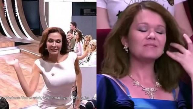 Actriz Golpea Invitada Programa Televisión, Evelina Bladens, Rusia, Televisión Rusa, Live, Sindrome De Down