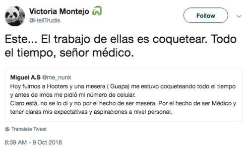 Médico rechaza mesera porque no está a nivel del Paracetamol
