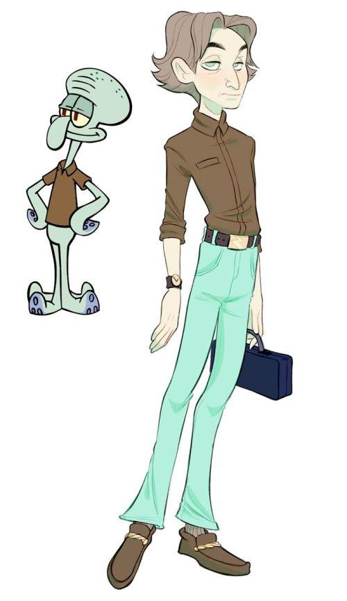Personajes Bob Esponja Iustración Humana