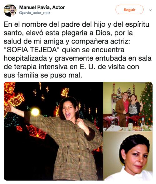 Muere la actriz sofía tejeda