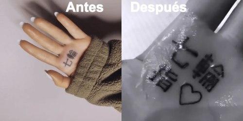 Tatuaje de Ariana Grande antes y después de corregirlo